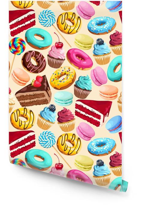 Patrones sin fisuras con dulces Rollo de papel pintado - Comida
