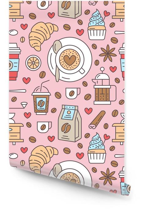 Sin patrón de café, vector de fondo. lindas bebidas, bebidas calientes iconos de colores de línea plana - máquina de café, frijoles, taza, molinillo. textura repetida para el menú del café, papel de regalo. Rollo de papel pintado - Bebida