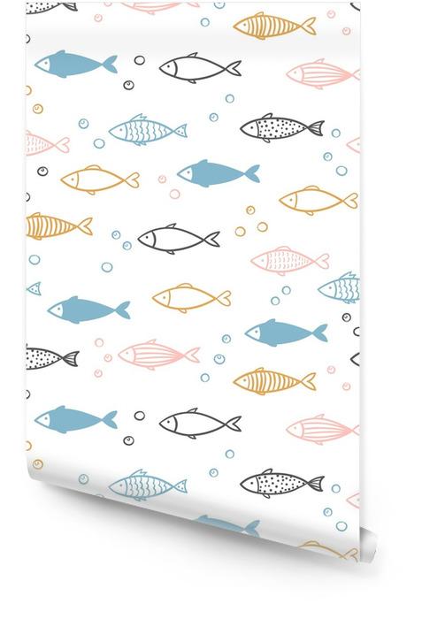 Vector inconsútil dibujado a mano patrón de peces. Rollo de papel pintado - Animales