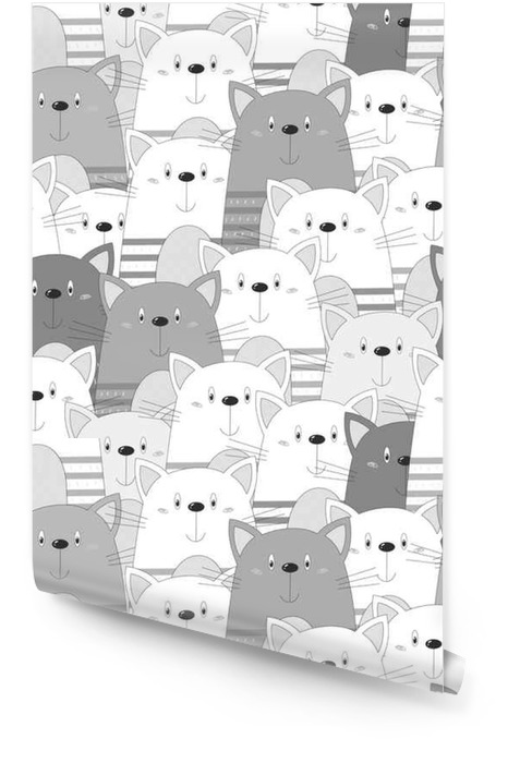Chats mignons fond transparent coloré Rouleau de papier peint - Animaux