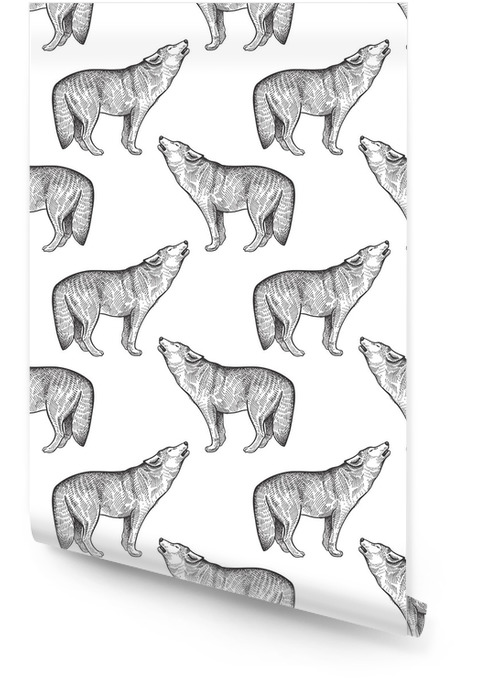 Modèle sans couture avec le loup. Rouleau de papier peint - Animaux