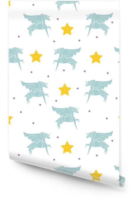 Origami eenhoorn patroon met stippen en sterren Behangrol - Grafische Bronnen