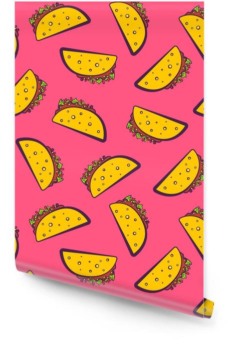 Kleurrijk naadloos patroon met leuke cartoon Mexicaanse taco op roze achtergrond. comic flat meisjesachtig pop-art taco's textuur voor fastfood textiel, inpakpapier, pakket, restaurant of café menu banners Behangrol - Eten