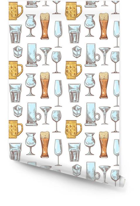 Diferentes bebidas bebida gafas de patrones sin fisuras. copas de fondo dibujado a mano. ilustración vectorial Rollo de papel pintado - Comida