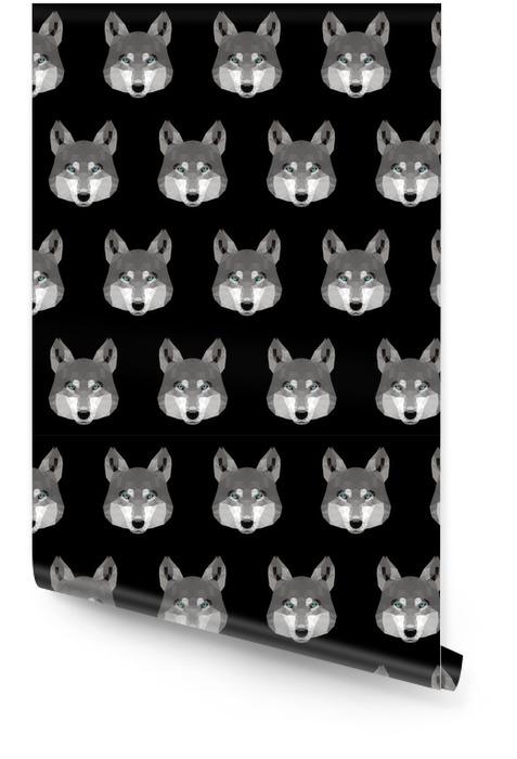 Fondo senza cuciture astratto del lupo poligonale. modello di ritratto moderno basso poli lupo Rotolo di carta da parati - Animali