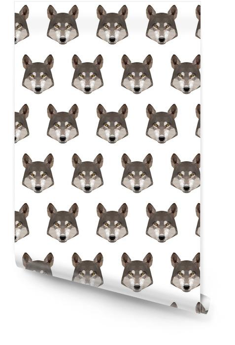 Abstrait sans soudure de loup polygonal. modèle de portrait de loup basse poly moderne Rouleau de papier peint - Animaux