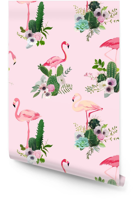 Flamingo Bird and Tropical Cactus Flowers Background. Retro Seamless Pattern in vector Wallpaper roll - Animals