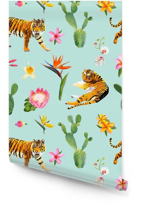 Naadloos patroon met tijgers, tropische bloemen en palmbladenachtergrond in vector Behangrol - Dieren