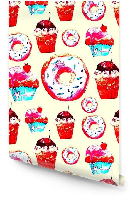 Słodki wzór z ciasta, pączki i lody. apetyczne tło do projektowania menu, zaproszeń, stron książki kucharskiej. wspaniały nadruk na papier pakowy, materiał, płytki, tapety Tapeta w rolce - Zasoby graficzne