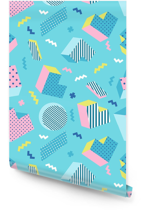 Bezszwowe kolorowy stary szkoła geometryczne niebieskie tło wzór, styl projektowania memphis. ilustracji wektorowych Tapeta w rolce - Zasoby graficzne