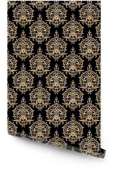 Damask Seamless Pattern - Black and Gold Texture Wallpaper roll - Graphic Resources