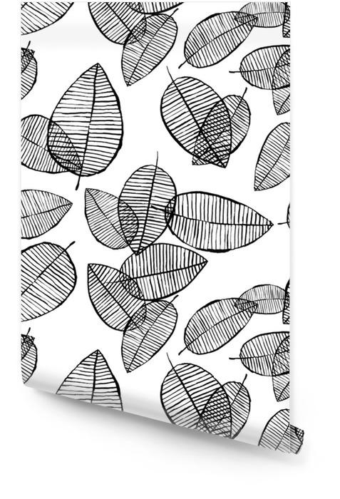 Wektor bez szwu zarys liści wzór. czarno-białe tło z akwarela, tusz i marker. modna skandynawska koncepcja projektowania modowego druku tekstylnego. ilustracja natury. Tapeta w rolce - Zasoby graficzne