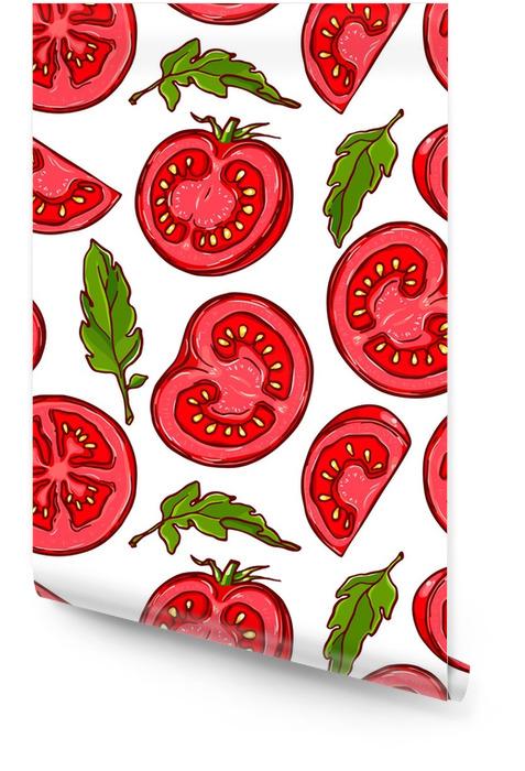 Bastante coloridos patrones sin fisuras de dibujado a mano tomate en rodajas. Rollo de papel pintado - Comida