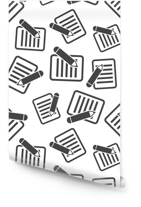 Documento con lápiz sin patrón de fondo. Ilustración de vector plano de negocios. documento concepto signo símbolo patrón. Rollo de papel pintado - Negocios