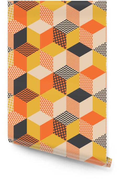 Geometrisk sömlös mönster vektor illustration i retro 60s stil. vintage 1970s geometri former grafisk abstrakt repeterbar motiv för mattan, papper, tyg, bakgrund. Rulltapet - Grafiska resurser