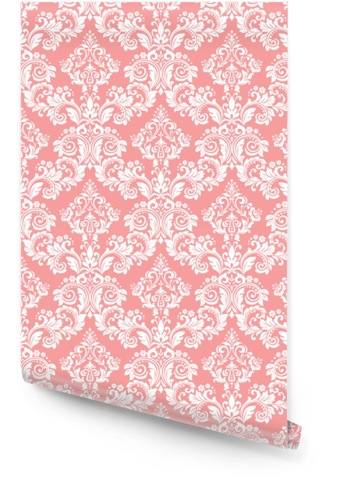 Wallpaper in the style of Baroque. A seamless vector background. White and pink floral ornament. Graphic pattern for fabric, wallpaper, packaging. Ornate Damask flower ornament Wallpaper roll - Graphic Resources