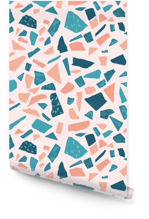 Lastryko podłoga marmur bezszwowe ręcznie wykonane wzór. tradycyjny wenecki materiał. Gran i kwarcowe skały i kropi miesza na polerującym surface.abstract tle dla projektów architektury Tapeta w rolce - Zasoby graficzne