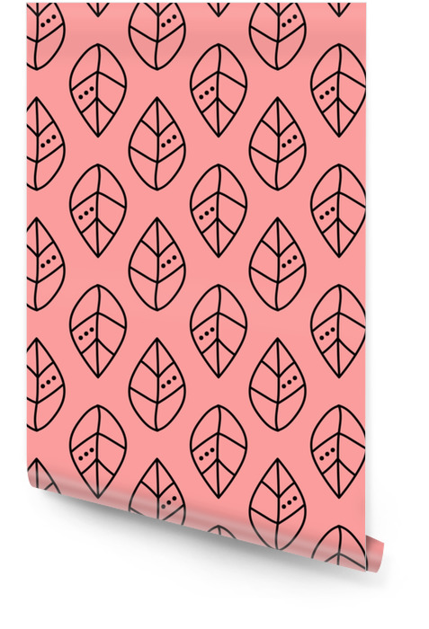 Seamless vector outline leaves pattern on pink backdrop. Design for wallpaper, fabric, textile, wrapping. Simple background Wallpaper roll - Graphic Resources