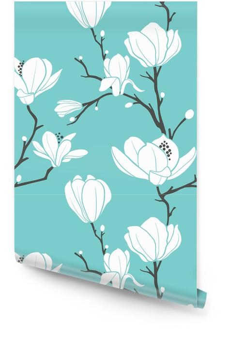 blue magnolia pattern Wallpaper roll - Themes