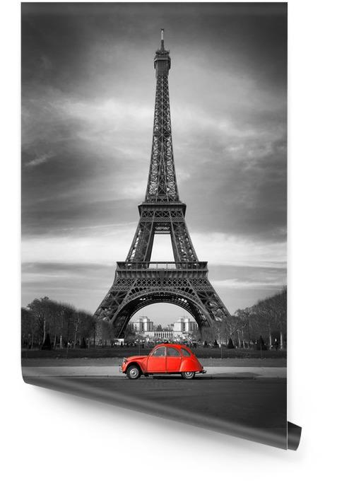 Wieża Eiffla i czerwony-paris samochód Tapeta w rolce - Style