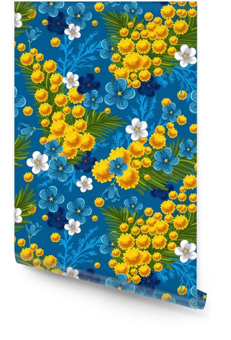 Naadloos patroon met vergeet-mij en mimosas Behangrol - Grafische Bronnen