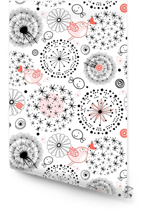 a pattern of silhouettes of dandelions Wallpaper roll - Textures