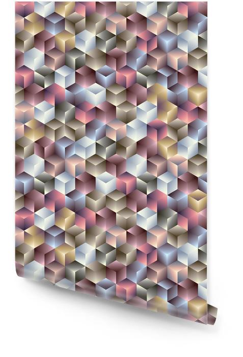 3d kostki geometryczne bez szwu deseń. Tapeta w rolce - Tematy