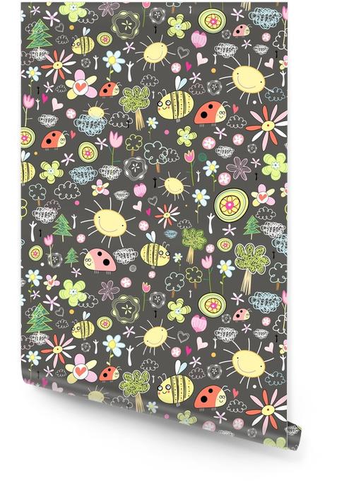 Textura de insectos y flores Rollo de papel pintado - Animales