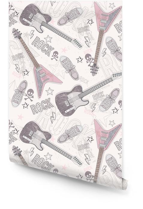 Ładny abstrakcyjny wzór grunge. wzór z gitar, sho Tapeta w rolce - Zasoby graficzne