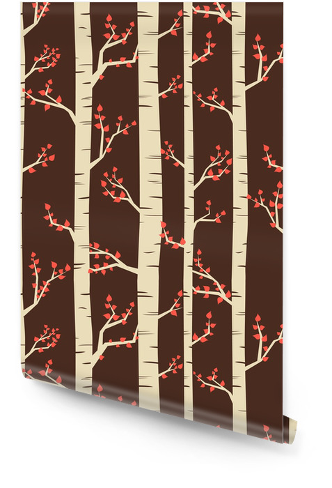 Seamless pattern with birch trees in autumn. Wallpaper roll - Themes
