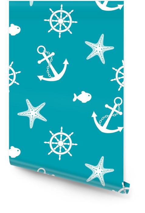 Sea naadloze achtergrond met anker, wiel, vissen, zeester Behangrol - Vakantie