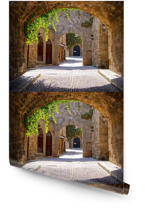 Średniowieczne łukowe ulica na starym mieście w Rodos, Grecja Tapeta w rolce - Style