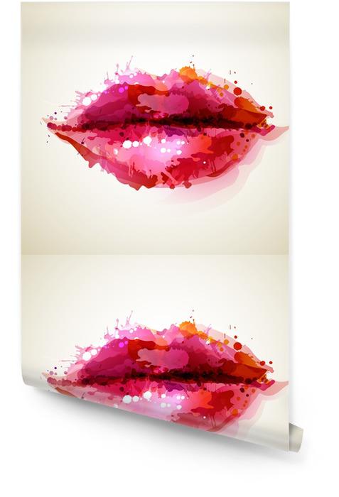 Piękne womans usta formowane przez abstrakcyjne blot Tapeta w rolce -