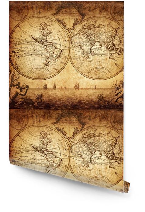 Vintage, mapa świata 1733 Tapeta w rolce - Tematy