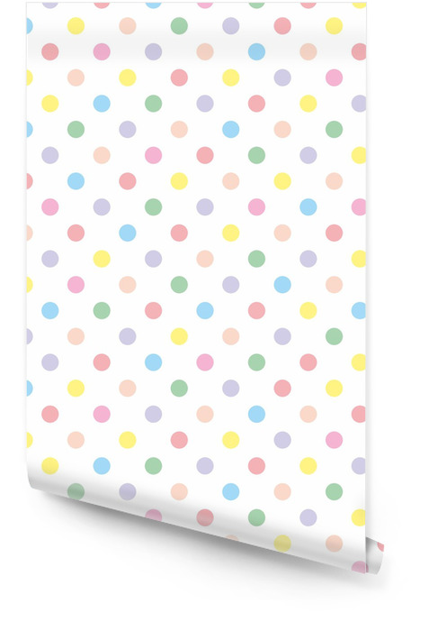 Seamless vector pattern background pastel colorful polka dots Wallpaper roll - Themes