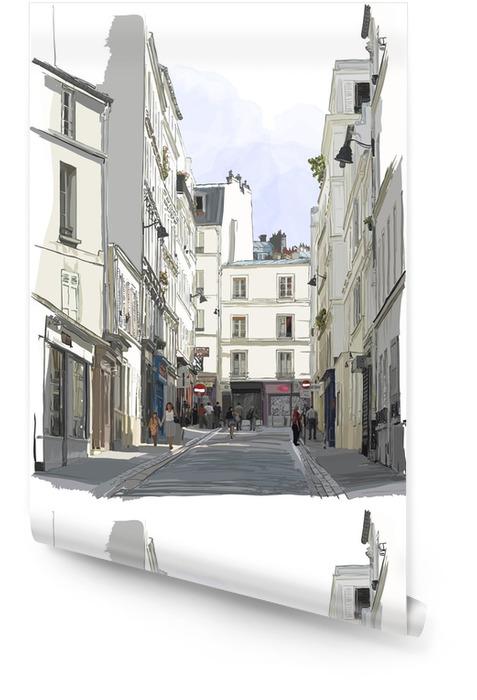 Ulicy w pobliżu Montmartre w Paryżu Tapeta w rolce - Budynki i architektura