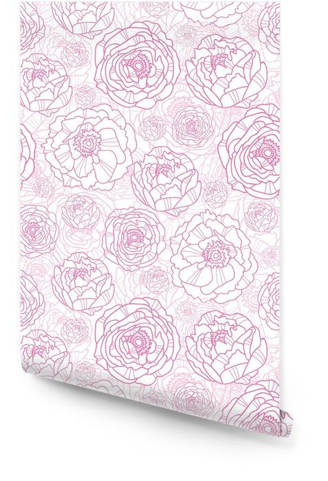 Vector pink line art flowers elegant seamless pattern background Wallpaper roll - Styles