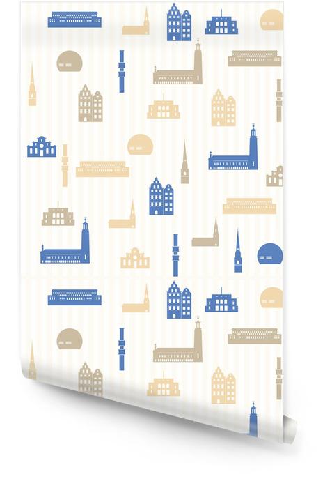 Stockholm naadloze patroon Behangrol - Achtergrond