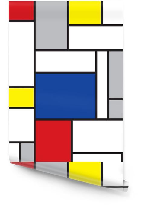 Mondrian inspirowane sztuką Tapeta w rolce -