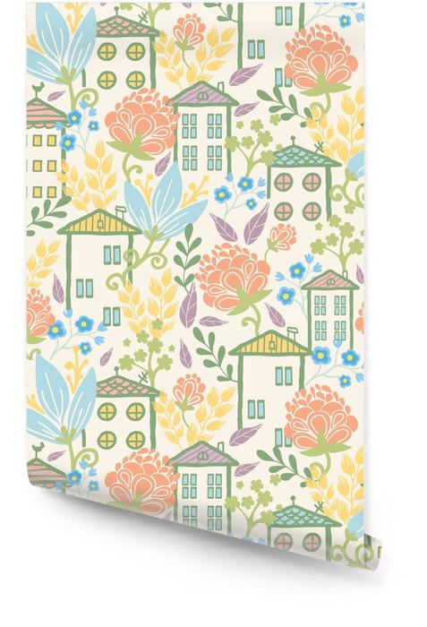 Casas entre flores sin patrón de fondo Rollo de papel pintado - Plantas y flores