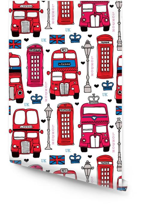 Naadloze liefde London UK reis rood pictogram achtergrond patroon Behangrol - Hobby's en Vrije tijd