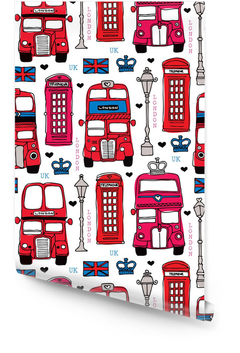 Seamless Love London Uk Red Travel Icon Background Pattern Wallpaper Roll