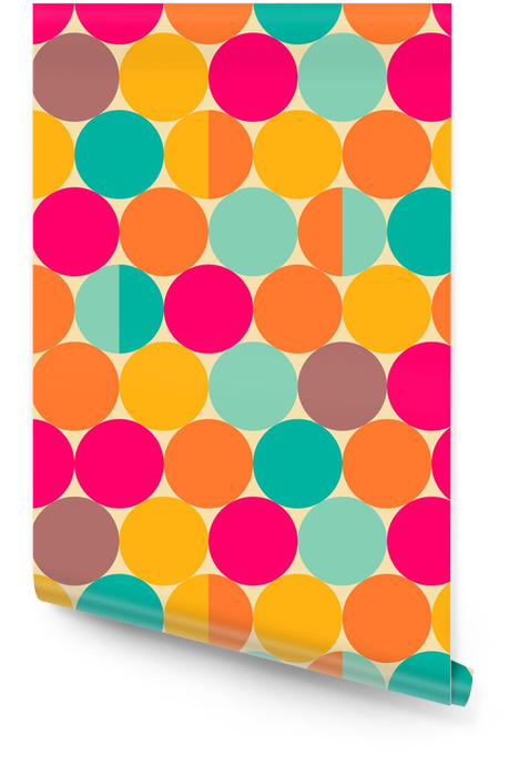 Retro abstract seamless pattern with circles Wallpaper roll - Backgrounds