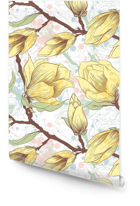 Vintage de patrones sin fisuras con flores de magnolia Rollo de papel pintado - Sensaciones y emociones
