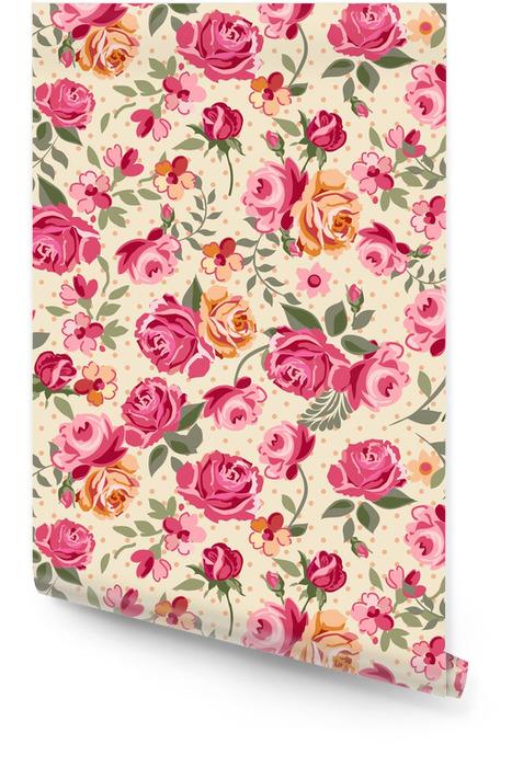 Clásico vector de rosas de fondo sin fisuras Rollo de papel pintado -