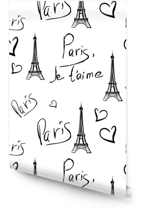 vector seamless pattern of Paris Wallpaper Roll - Backgrounds