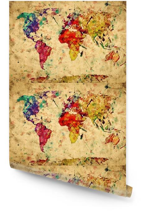 Mapa świata archiwalne. kolorowe farby, akwarela na papierze grunge Tapeta w rolce -