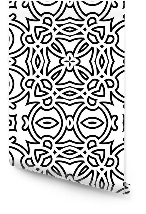 Enrejado blanco y negro, sin fisuras patrón geométrico Rollo de papel pintado - Estilos