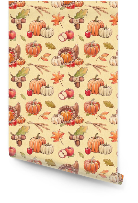 Autumn seamless pattern with harvest illustrations Wallpaper roll - Landscapes