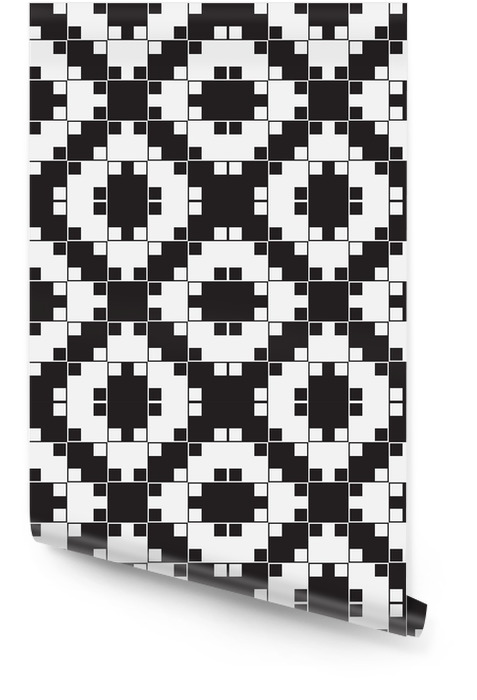 Black and White Optical Illusion, Vector Seamless Pattern. Wallpaper roll - Backgrounds